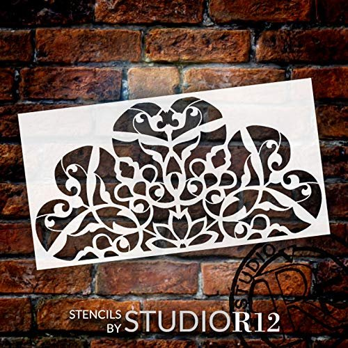 Mandala - Flower Swirls - Half Design Stencil by StudioR12 | Reusable Mylar Template | Use to Paint Wood Signs - Pallets - Pillows - Wall Art - Floor Tile - Select Size