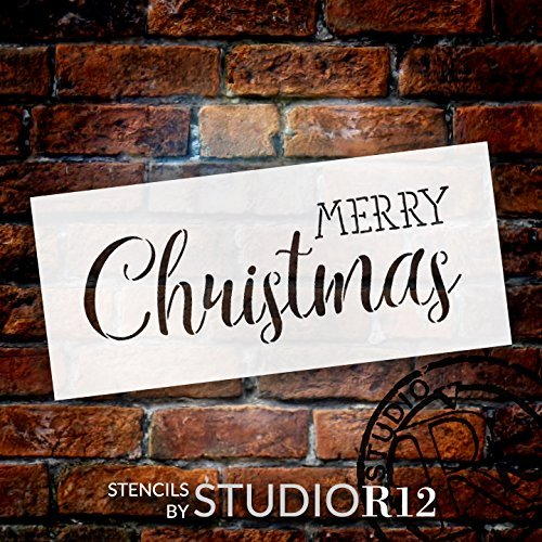 "Merry Christmas Stencil by StudioR12 | Trendy Rustic Script Word Art - Reusable Mylar Template | Painting, Chalk, Mixed Media | Use for Crafting, DIY Home Decor - STCL1397 … SELECT SIZE (9"" x 4"")"