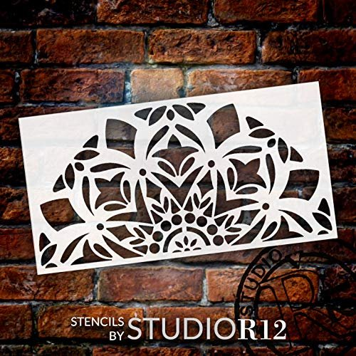 Mandala - Snow - Half Design Stencil by StudioR12 | Reusable Mylar Template | Use to Paint Wood Signs - Pallets - Pillows - Wall Art - Floor Tile - Select Size