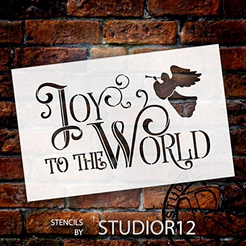 Joy To The World Stencil by StudioR12 | Vintage Christmas Word Art - Large 20 x 13-inch Reusable Mylar Template | Painting, Chalk, Mixed Media | Use for Wall Art, DIY Home Decor - STCL1540_4