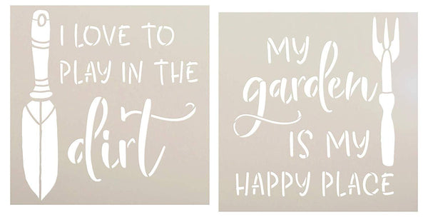 Garden Happy Place Stencil Set by StudioR12 | Pack of 2 | DIY Fun Outdoor Spring Backyard Home Decor | Hand Rake & Trowel Word Art | Craft & Paint Wood Signs | Mylar Template | Size