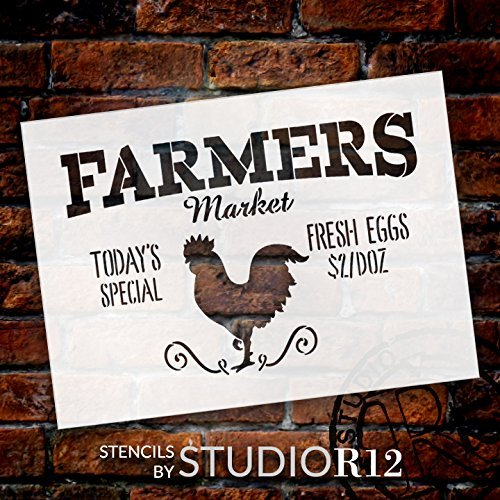 "Farmers Market - Today's Special - Fresh Eggs $2/Doz Word Stencil by StudioR12 - Rooster Word Art - STCL2186 - SELECT SIZE (17"" x 12"")"