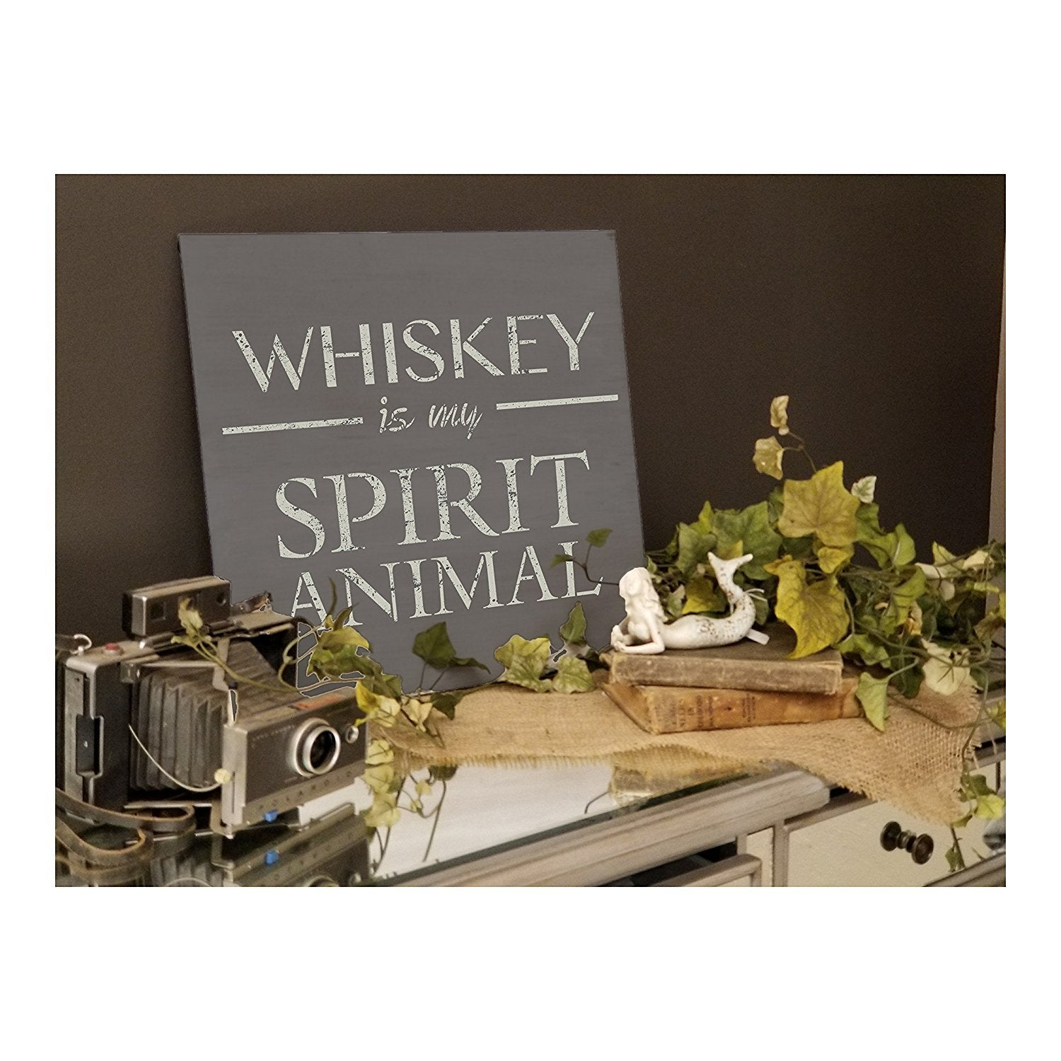 Whiskey Is My Spirit Animal Stencil by StudioR12 | Bar, Man Cave Word Art - Reusable Mylar Template | Painting, Chalk, Mixed Media | Use for Wood Sign, Wall Art, DIY Home Decor SELECT SIZE