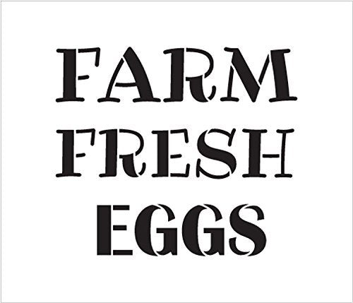 "Farm Fresh Eggs Word Stencil by StudioR12 - Fun Country Word Art - Reusable Mylar Template | Painting, Chalk, Mixed Media | Use for Wall Art, DIY Home Decor - STCL2184 - SELECT SIZE (10"" x 9"")"