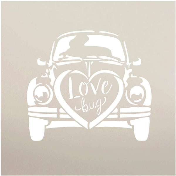 Love Bug with Heart by StudioR12 | Reusable Mylar Template | Paint Wood Sign | DIY Rustic Farmhouse Holiday | Craft Vintage Volkswagen Car Style Home Decor | Select Size