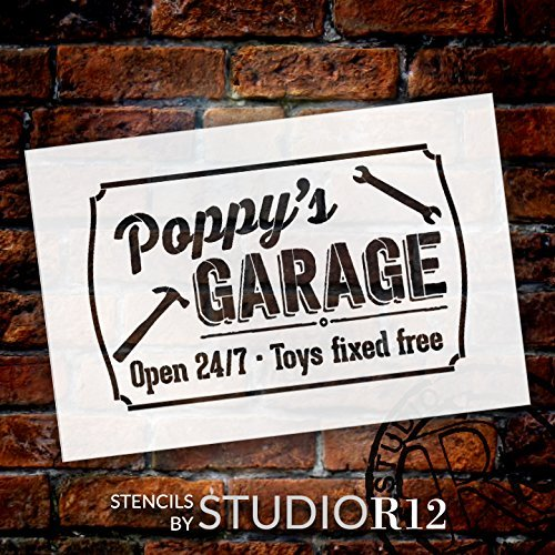Poppy's Garage - Open 24/7 Sign Stencil by StudioR12 | Reusable Mylar Template | Use to Paint Wood Signs - Pallets - DIY Grandpa Gift - Select Size (9