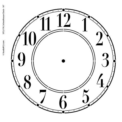 Schoolhouse Clock Stencil by StudioR12 | Basic Style Clock Face Art - Medium 11.5 x 11.5-inch Reusable Mylar Template | Painting, Chalk, Mixed Media | Use for Crafting, DIY Home Decor - STCL179