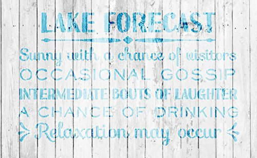 Lake Forecast Stencil by StudioR12 - For Painting Wood Signs | Summer Outdoor Word Art for Front Door - Lake House - Motorhome - Entry - Porch - Patio | SELECT SIZE