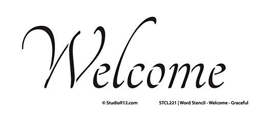 "Welcome Stencil by StudioR12 | Graceful Style Word Art - Reusable Mylar Template | Painting, Chalk, Mixed Media | Use for Wall Art, DIY Home Decor - STCL221 SELECT SIZE (9"" x 4"")"