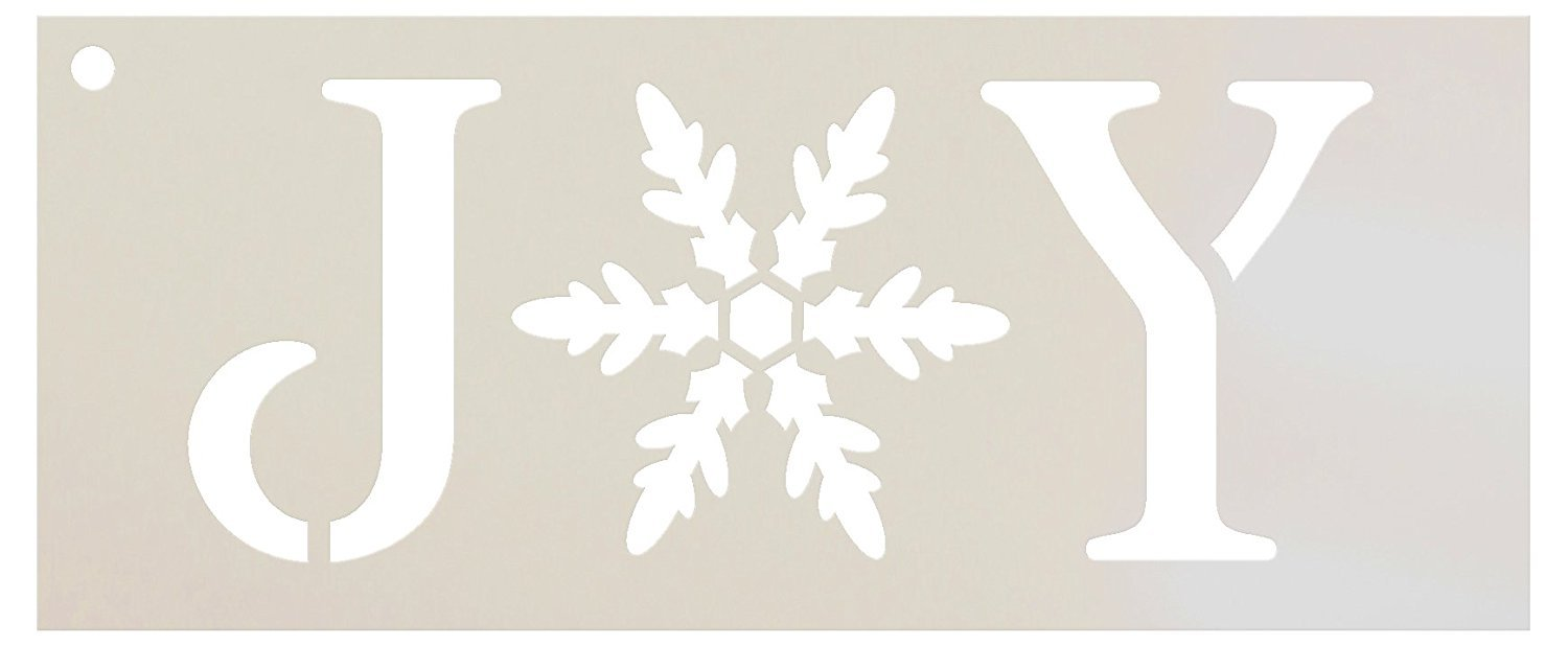 "Joy Stencil by StudioR12 | Vintage Serif Snowflake Word Art - Reusable Mylar Template | Painting, Chalk, Mixed Media | Use for Journaling, DIY Home Decor - STCL1262 … SELECT SIZE (17"" x 8.5"")"