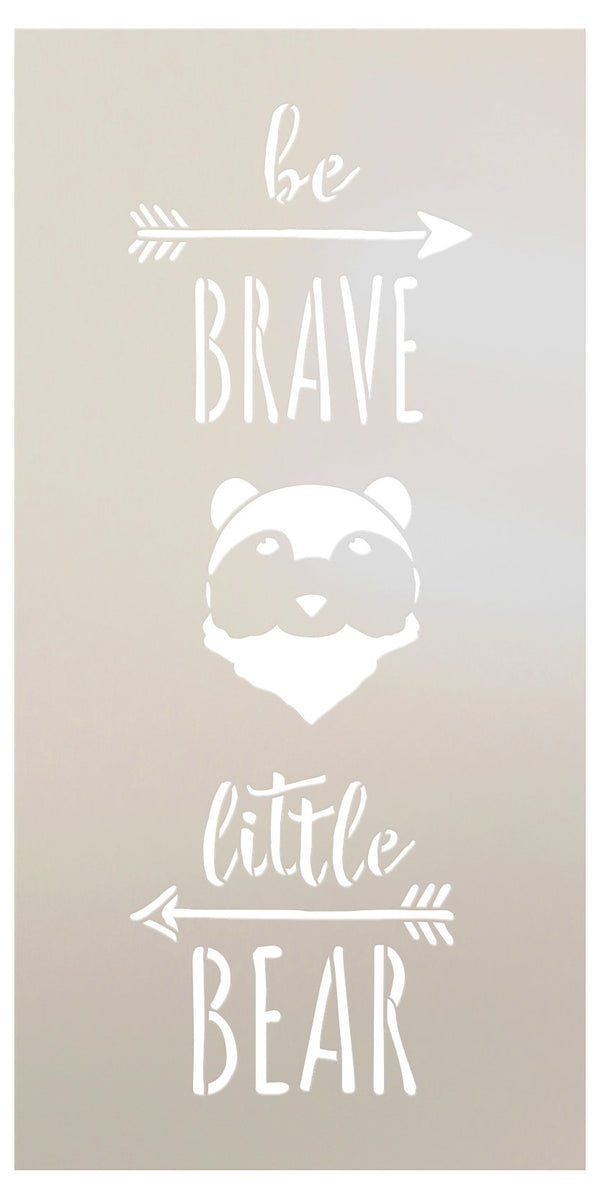 Be Brave Little Bear Stencil with Arrows by StudioR12 | DIY Woodland Nursery Home Decor | Rustic Nature Baby Gift | Craft & Paint Wood Signs | Reusable Mylar Template | Size - 13