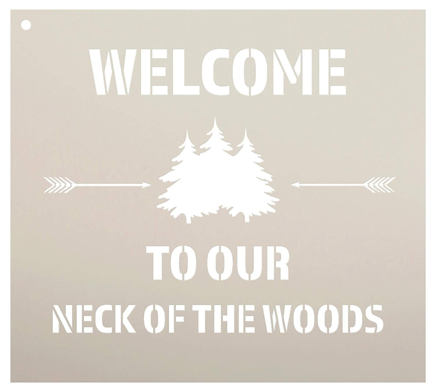 "Welcome to Our Neck of The Woods - Trees & Arrows Stencil by StudioR12 | Reusable Mylar Template | Use to Paint Wood Signs | DIY Country Decor - Select Size (10"" x 9"")"