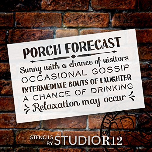 "Porch Forecast - Sunny with a Chance of Visitors Stencil by StudioR12 | Reusable Mylar Template | Use to Paint Wood Signs - Front Door - Entry - Porch - DIY Summer Decor - Select Size (16"" x 10"")"