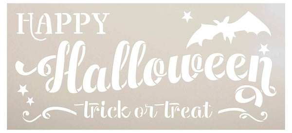 Happy Halloween Stencil by StudioR12 | DIY Bat Trick or Treat Home Decor | Craft & Paint Wood Signs | Reusable Template | Select Size