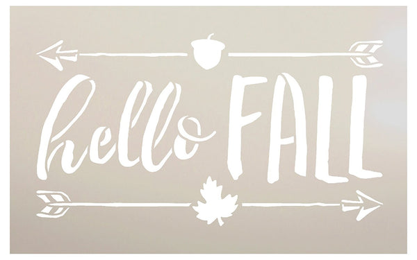 Hello Fall Stencil by StudioR12 | Shabby Chic Word Art - Mylar Template | Painting, Chalk, Mixed Media | Use for Journaling, DIY Home Decor -CHOOSE SIZE (20