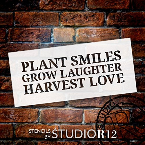 "Plant Grow Harvest - Word Stencil - 18"" x 7"" - STCL1845_4 - by StudioR12"