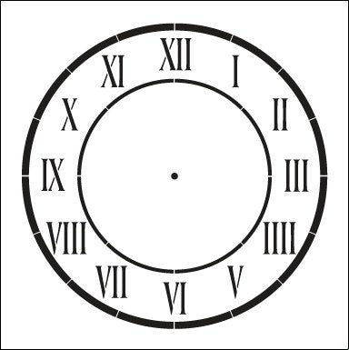 D'Anjou Clock Stencil by StudioR12 | Roman Numeral Clock Face Art - Medium 11 x 11-inch Reusable Mylar Template | Painting, Chalk, Mixed Media | Use for Crafting, DIY Home Decor - STCL510_04