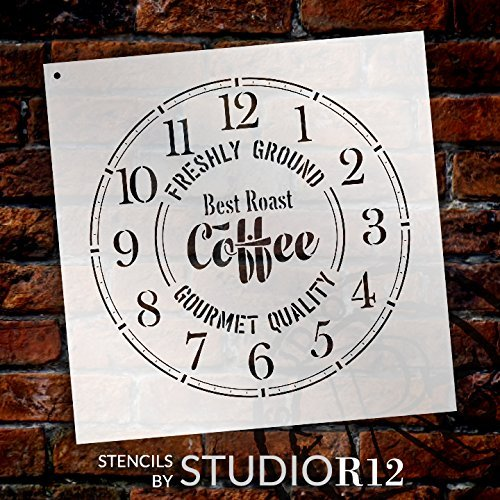 Round Coffee Clock Stencil Small to Extra Large - DIY Painting Wood Clocks Rustic Farmhouse Country Home Decor for Walls - Select Size (20