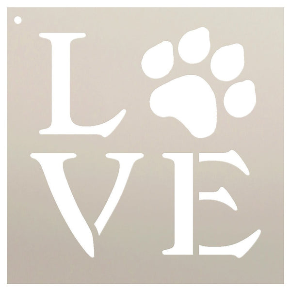 Love Stencil by StudioR12 | Square Paw Print Word Art -Reusable Mylar Template | Painting, Chalk |  Journaling, DIY Home Decor-Animal Lover-CHOOSE SIZE | STCL1313