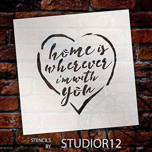 "Home Is Wherever - Rustic Script - Word Stencil - 9"" x 9"" - STCL1514_3 by StudioR12"