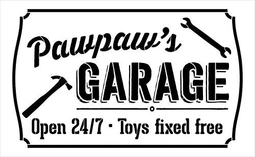 "Pawpaw's Garage - Open 24/7 Sign Stencil by StudioR12 | Reusable Mylar Template | Use to Paint Wood Signs - Pallets - DIY Grandpa Gift - Select Size (12"" x 8"")"