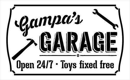 "Gampa's Garage - Open 24/7 Sign Stencil by StudioR12 | Reusable Mylar Template | Use to Paint Wood Signs - Pallets - DIY Grandpa Gift - Select Size (12"" x 8"")"