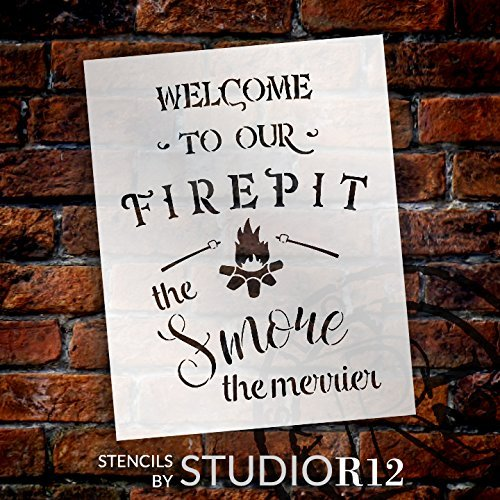 Welcome to Our Firepit Stencil - The Smore The Merrier by StudioR12 | Reusable Mylar Template | Use to Paint Wood Signs - Wall Art - Pallets - DIY Rustic Home Decor - Select Size (13