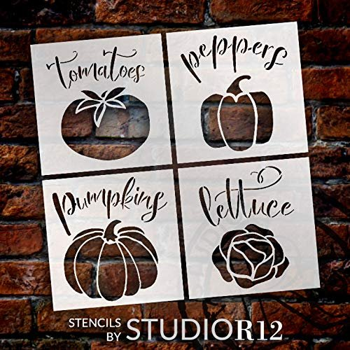 4 pack,   			                 Art Stencil,   			                 backyard,   			                 combination,   			                 combo,   			                 Country,   			                 DIY,   			                 DIY wood sign,   			                 fall,   			                 farm,   			                 Farmhouse,   			                 food,   			                 four pack,   			                 Garden,   			                 Gardening,   			                 harvest,   			                 Home,   			                 Home Decor,   			                 Kitchen,   			                 label,   			                 lettuce,   			                 Mixed Media,   			                 pepper,   			                 plant,   			                 planting,   			                 pumpkin,   			                 set,   			                 Spring,   			                 stencil,   			                 stencil set,   			                 Stencils,   			                 Studio R 12,   			                 StudioR12,   			                 StudioR12 Stencil,   			                 summer,   			                 tomato,   			                 vegetable,   			                 veggie,