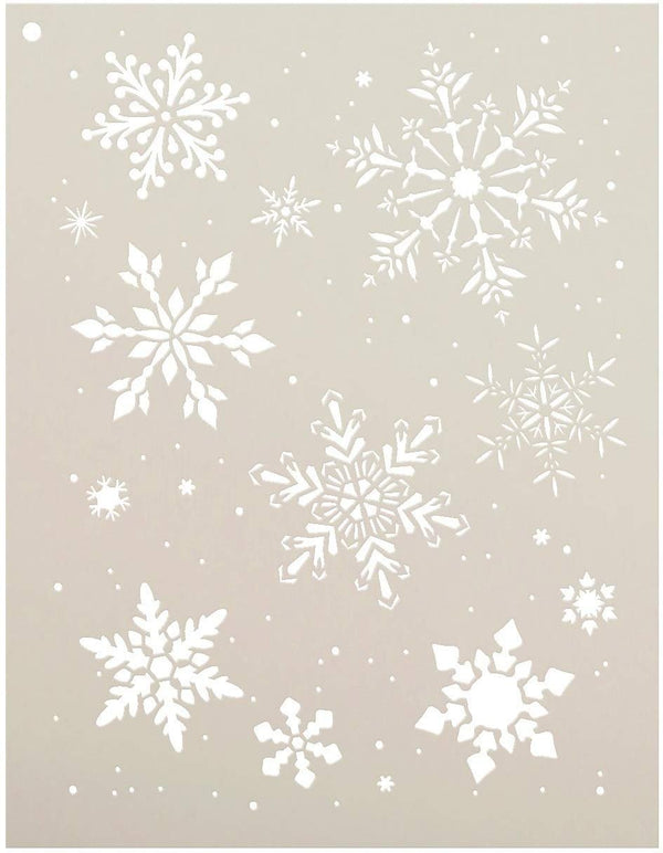 North Pole Snowflakes Stencil by StudioR12 | Winter Art Elements Reusable Mylar Template | Painting, Chalk, Mixed Media | Use for Crafting, DIY Home Decor
