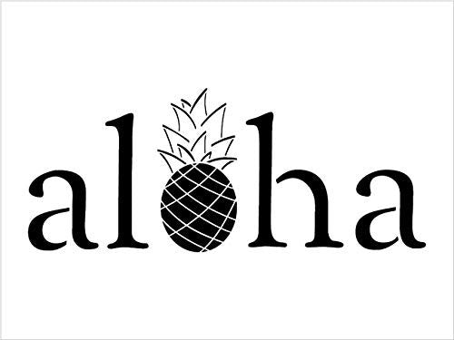 Aloha with Pineapple Stencil by StudioR12 | Reusable Mylar Template | Use to Paint Wood Signs - Front Porch - Pallets - New Home - DIY Hawaiian Decor - Select Size
