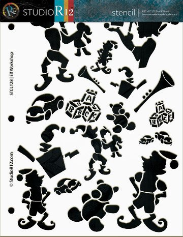 Art Stencil,   			                 Art Stencils,   			                 block,   			                 car,   			                 Christmas,   			                 Christmas & Winter,   			                 elf,   			                 horn,   			                 jack in the box,   			                 Pattern,   			                 santa,   			                 stencil,   			                 Stencils,   			                 StudioR12,   			                 teddy bear,   			                 toy car,