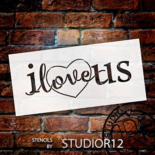 Love Us Stencil with Heart by StudioR12 | Reusable Mylar Template | Use for Painting Signs on Pallets, Wood and Pillows - DIY Home Decor, Weddings, Valentine, Romance - CHOOSE SIZE