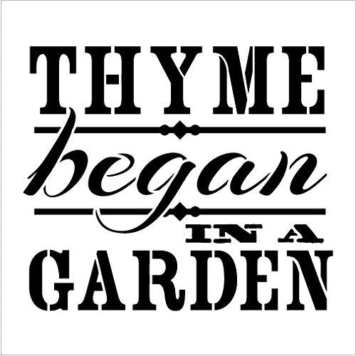 Thyme Began In A Garden Stencil by StudioR12 | Vintage Herb Word Art - Small 7 x 7-inch Reusable Mylar Template | Painting, Chalk, Mixed Media | Use for Journaling, DIY Home Decor - STCL416