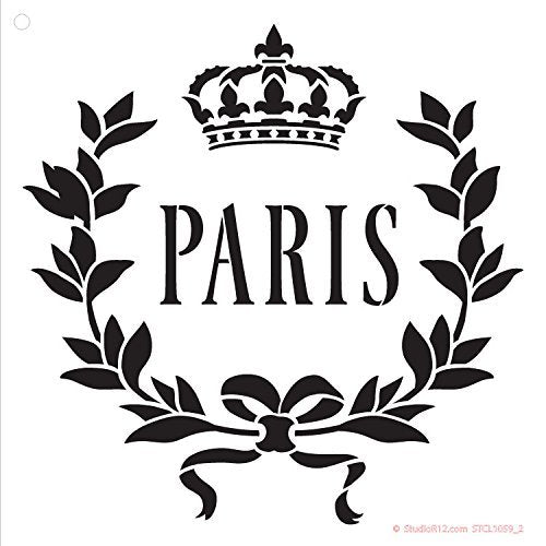 - Vintage French Themed Word Stencils for Painting Template 10.5 x 6.5 inch L Paris Crown Stencil