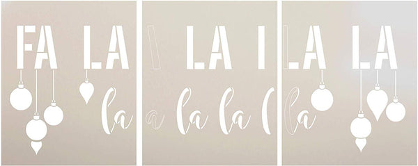 Fa La La La Jumbo 3-Part Stencil with Ornaments by StudioR12 | DIY Christmas Song Lyric Home Decor | Script Holiday Word Art | Paint Oversize Wood Signs | Mylar Template | Extra Large | 48 x 22 inch | STCL3234_JUMBO