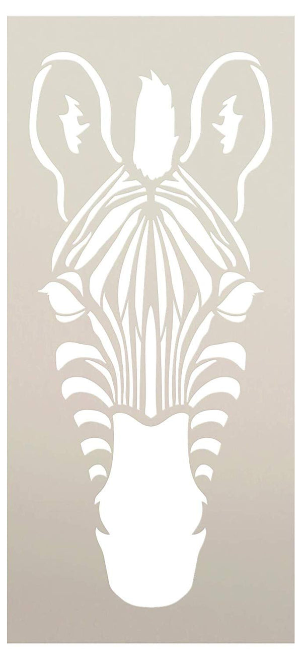 Zebra Portrait Stencil Front View by StudioR12 | DIY Classroom & Kids Room Home Decor Decor | Nursery Zoo Animal | Craft & Paint Wood Signs | Reusable Mylar Template | Select Size | STCL3046