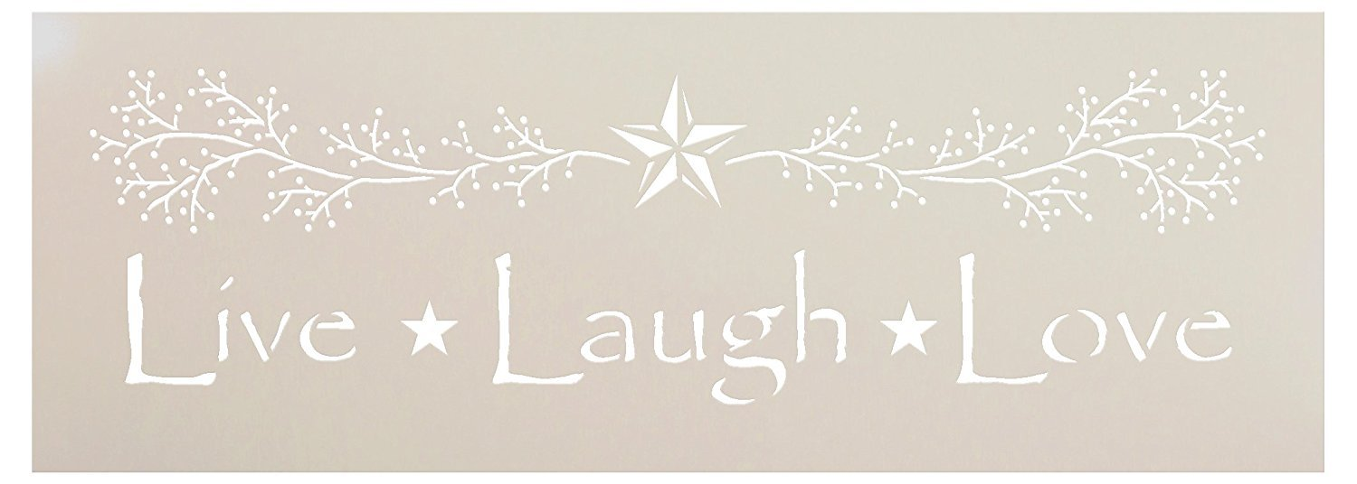 "Live Laugh Love Stencil by StudioR12 | Primitive Word Art - Reusable Mylar Template | Painting, Chalk, Mixed Media | Use for Crafting, DIY Home Decor - STCL1207 SELECT SIZE (14"" x 5"")"