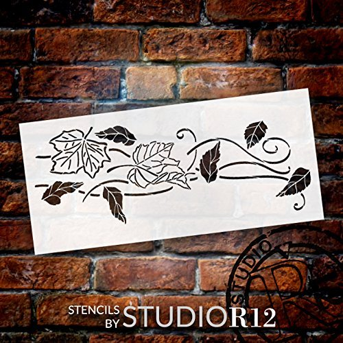 Blowing Leaves Stencil by StudioR12 | Reusable Mylar Template | Autumn Style - Use to Paint Wood Signs - Wall Art - Pallets - DIY Fall Home Decor - Select Size (20