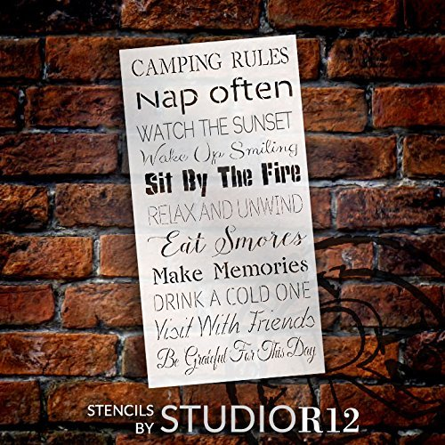 Camping Rules Stencil by StudioR12 | Fun Outdoor Adventure - Large 13 x 25-inch Reusable Mylar Template | Painting, Chalk, Mixed Media | Use for Wall Art, DIY Home Decor - STCL1451_1