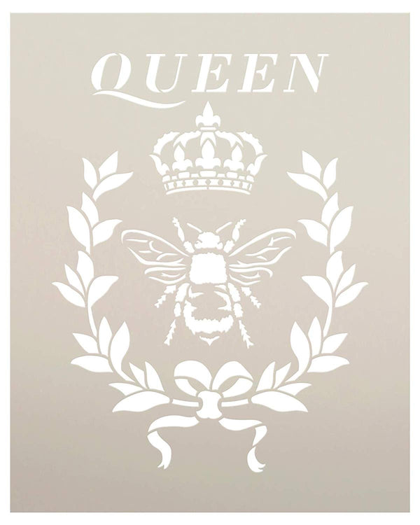 Queen Bee Stencil with Crown & Laurel by StudioR12 | DIY Farmhouse Home Decor | French Fleur de Lis Wreath Word Art | Craft & Paint Wood Signs | Reusable Mylar Template | Select Size