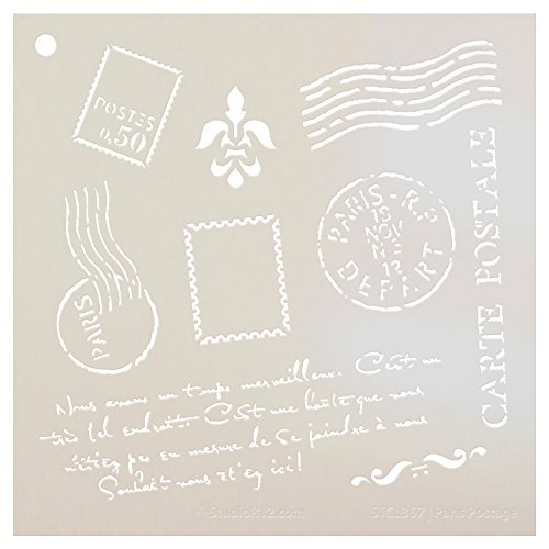 Paris Postage Stencil by StudioR12 | French Travel Elements - Medium Reusable Mylar Template | Painting, Chalk, Mixed Media | Use for Crafting, DIY Home Decor - STCL367 | SELECT SIZE (17