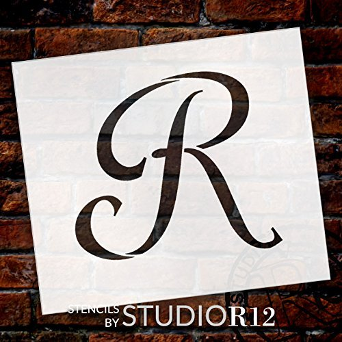 "Graceful Monogram Stencil - R - 15"" - STCL1918_6 - by StudioR12"
