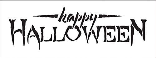 Happy Halloween Stencil by StudioR12 | Reusble Mylar Template | Use to Paint Wood Signs - Pallets - Pillows - DIY Fall & Halloween Decor - Select Size