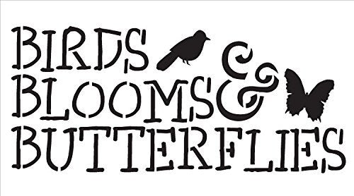 "Birds, Blooms and Butterflies - Word Stencil -14"" X 7.5"""