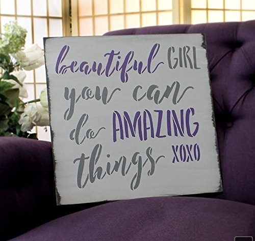 "Beautiful Girl by StudioR12 | Inspirational and Artistic -Reusable Mylar Template | Painting, Chalk, Mixed Media | Crafting, DIY Home Decor - CHOOSE SIZE (15"" X 15"")"