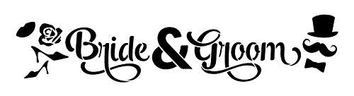 "Bride & Groom Word Art Stencil - Icons - 18"" x 5"""