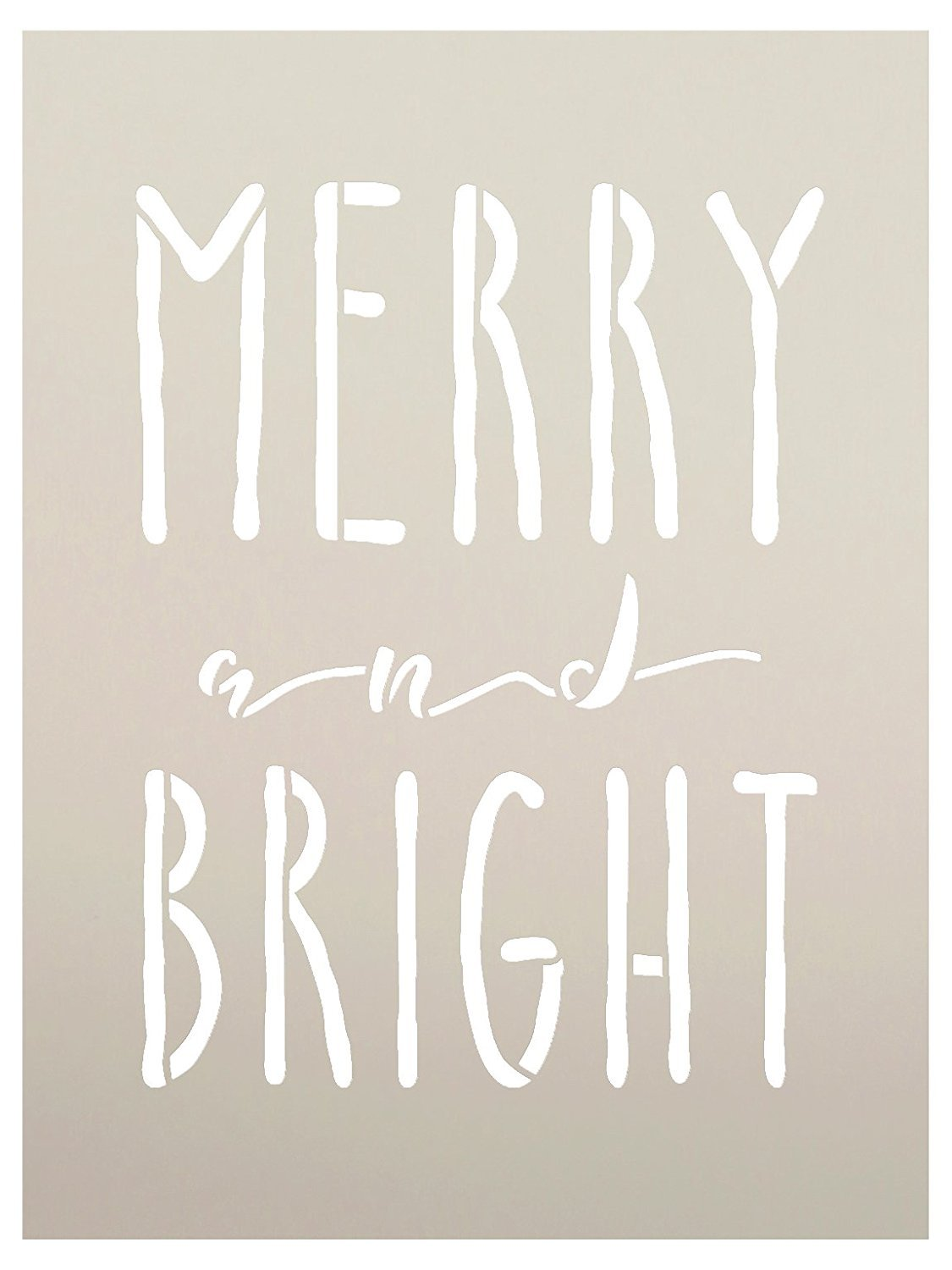 Merry And Bright Word Stencil by StudioR12 | Reusable Mylar Template | Painting, Chalk, | Farmhouse Style, Vintage Country Christmas, Holiday, DIY Home Decor - CHOOSE SIZE