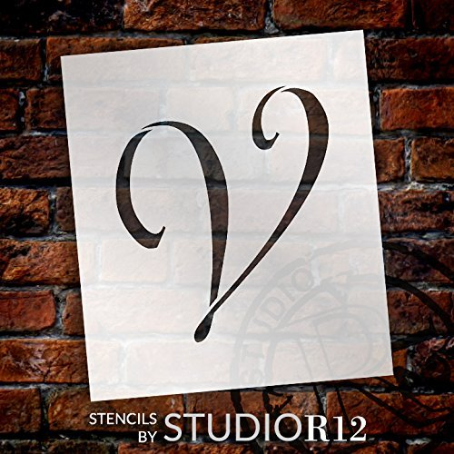 "Graceful Monogram Stencil - V - 5"" - STCL1922_2 - by StudioR12"