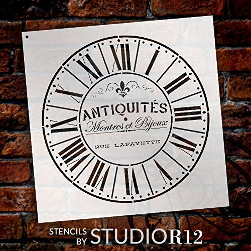 "Round Clock Stencil - Parisian Roman Numerals - French Antique Words - DIY Paint Wood Clock Small to Extra Large Home Decor - Select Size (18"")"