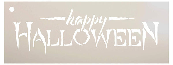 Happy Halloween Stencil by StudioR12 | Reusable Mylar Template | Use to Paint Wood Signs - Pallets - Pillows - DIY Fall & Halloween Decor - Select Size